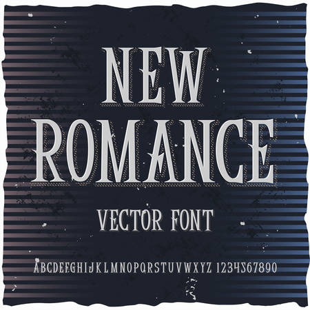 Original label typeface named New Romance. Good handcrafted font for any label design. 일러스트