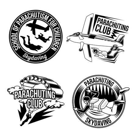 Set of parachuting emblems, labels, badges.