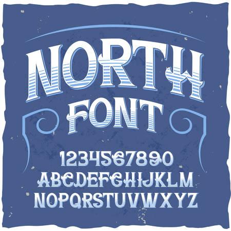 Original label typeface named North. Good handcrafted font for any label design. 일러스트