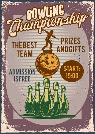 Poster design with illustration of advertising of bowling competition on dusty background.