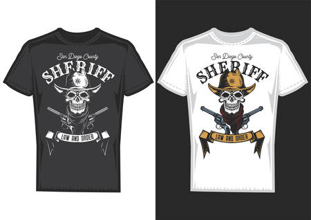 T-shirt design samples with illustration of a cowboy skull.