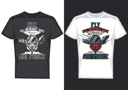 T-shirt design samples with illustration of air forces on dusty background.