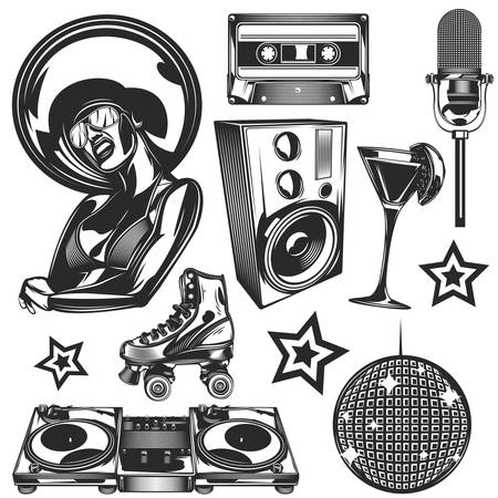 Set of disco elements for creating your own badges, logos, labels, posters etc. Isolated on white. Illustration