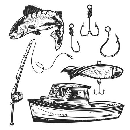 Set of fishing elements for creating your own badges, logos, labels, posters etc. Isolated on white.