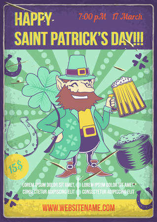 Poster design with illustration of the St. Patrick with a glass of beerand his elements (horseshoe, clover etc.)