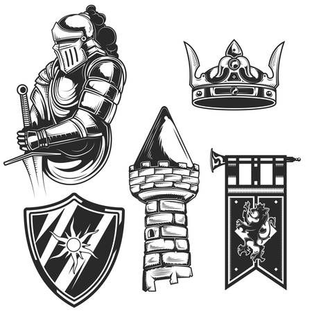 Set of knights elements (tower, shield, crown etc.) for creating your own badges, logos, labels, posters etc. Isolated on white. Stock Illustratie