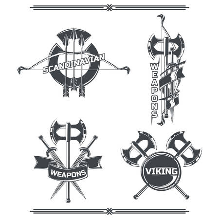 Set of viking's emblems, labels, badges, logos. Isolated on white