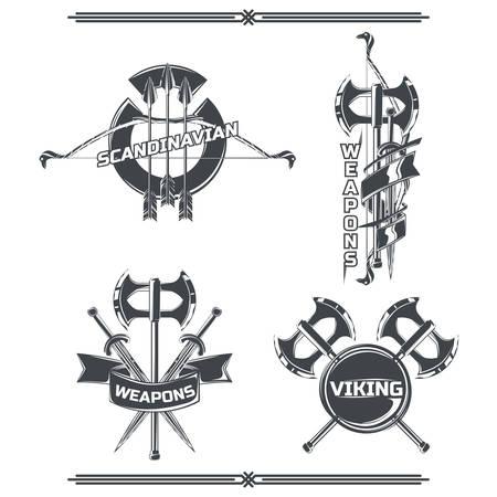 Set of vikings emblems, labels, badges, logos. Isolated on white