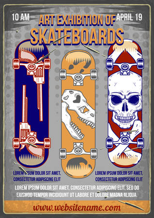 Poster design with illustration of skateboards with different prints on it. Иллюстрация