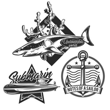 Set of underwater stuff vintage emblems, labels, badges, logos. Isolated on white Stock Illustratie