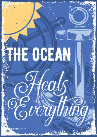 Poster design with illustration of an anchor and a handwheel on vintage background. Vectores