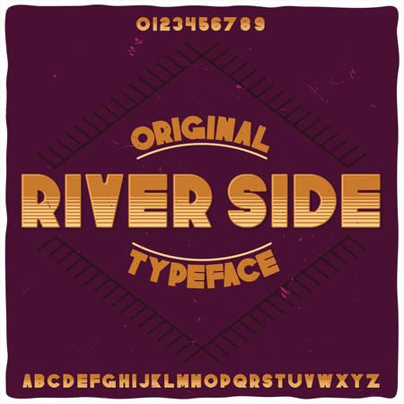 Original label typeface named River Side. Good handcrafted font for any label design. Stock Illustratie