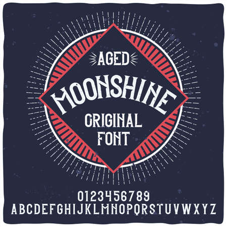 Vintage label typeface named Moonshine. Good handcrafted font for any label design. Stock Illustratie