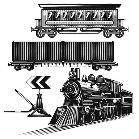 Set of trains on the road for creating your own badges, logos, labels, posters etc. Isolated on white. Illustration