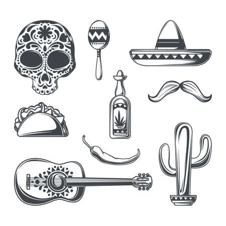 Set of mexican elements (sombrero, mustache, tequila, pepper, cactus etc.) for creating your own badges, logos, labels, posters etc. Isolated on white. Иллюстрация