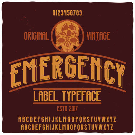 Original label typeface named Emergency. Good handcrafted font for any label design.