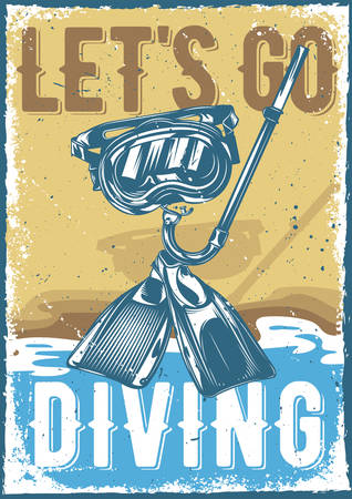 Poster design with illustration of diving equipment on vintage background. Stock Illustratie