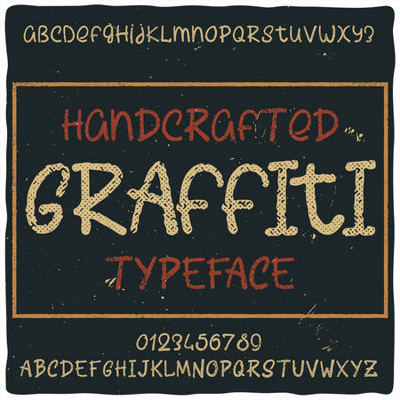 Vintage label typeface named Graffiti. Good handcrafted font for any label design.