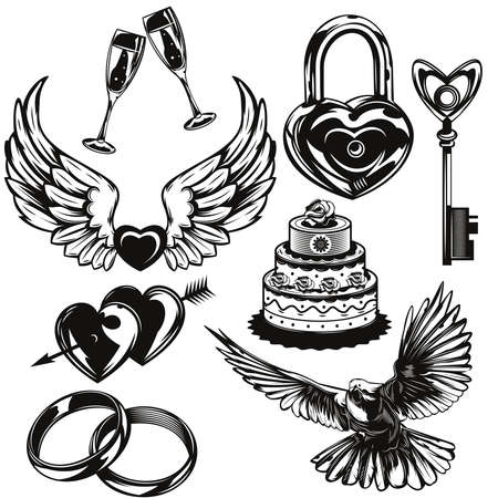 Set of love and wedding elements for creating your own badges, logos, labels, posters etc. Isolated on white.