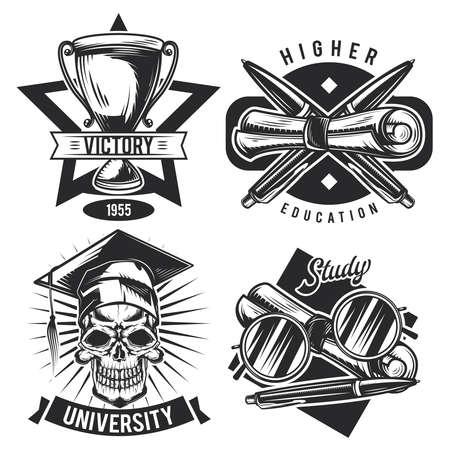 Set of vintage educational emblems, labels, badges, logos. Isolated on white Ilustração