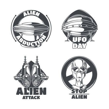 Set of UFO emblems, labels, badges, logos. Isolated on white