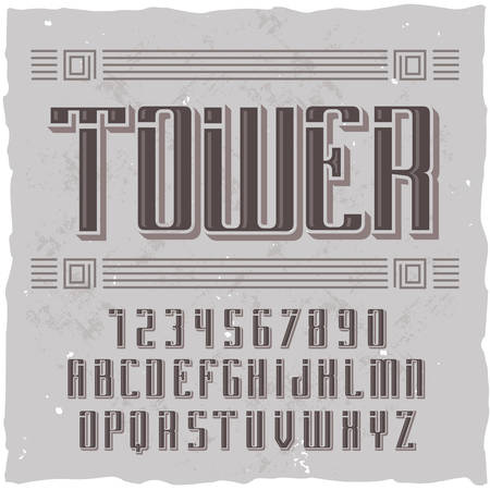 Original label typeface named Tower. Good handcrafted font for any label design. Stock Illustratie