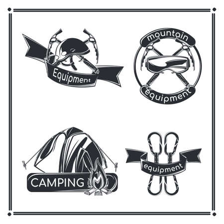 Set of camping emblems, labels, badges, logos. Isolated on white