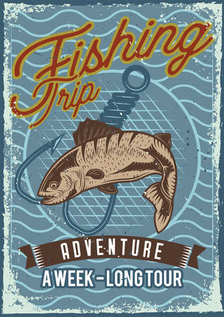 Poster design with illustration of fish on dusty background. Vectores