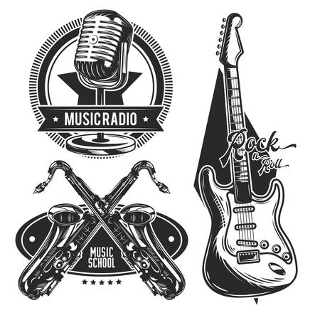 Set of different musical instruments emblems, labels, badges, logos. Isolated on white.