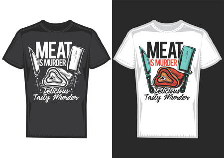 T-shirt design samples with illustration of meat and knives.