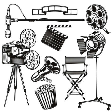 Set of cinema elements for creating your own badges, logos, labels, posters etc. Isolated on white.