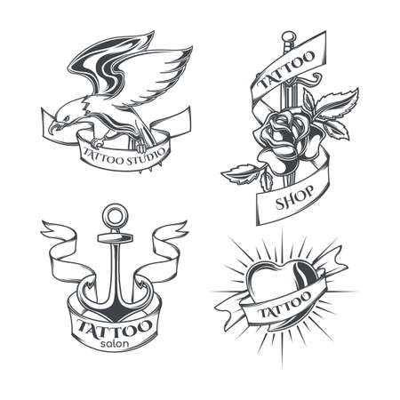 Set of tattoo emblems, labels, badges, logos. Isolated on white Stock Illustratie