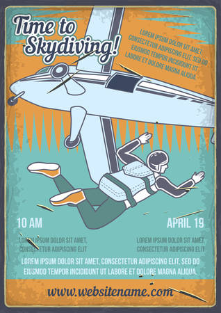 Poster design with illustration of a man with a parachute and an airplane. Stock Illustratie