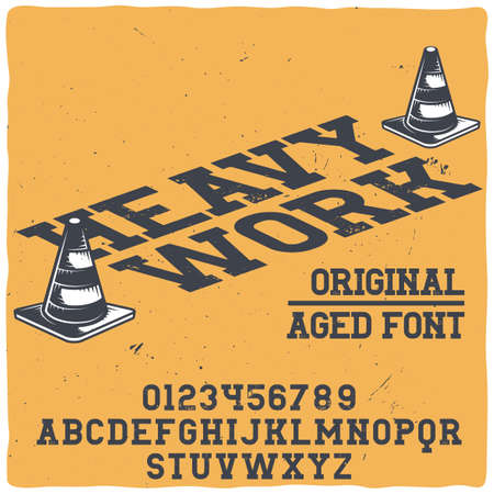 Original label typeface named Heavy work. Good handcrafted font for any label design.