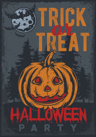 Poster design with illustration of a pumpkin on vintage background.