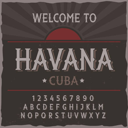 Vintage label typeface named Havana. Good handcrafted font for any label design.