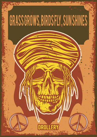 Poster design with illustration of a rasta's skull on vintage background. Иллюстрация