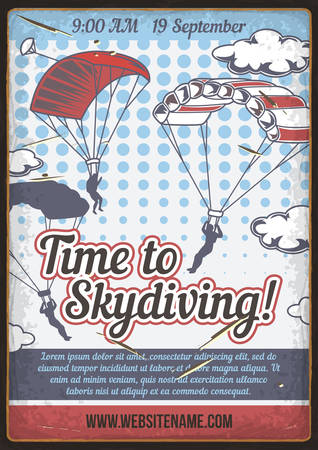 Poster design with illustration of people jumping with parachute. Illustration