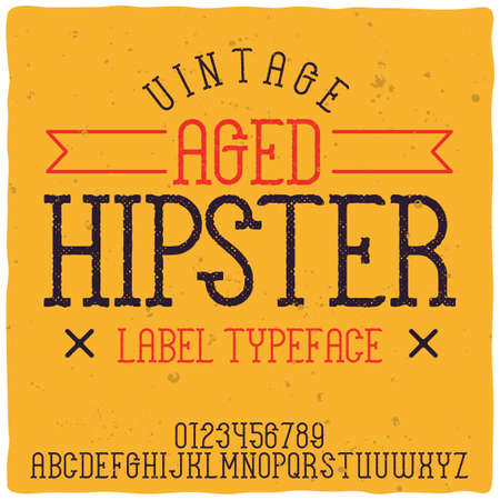 Original label typeface named Hipster. Good handcrafted font for any label design.