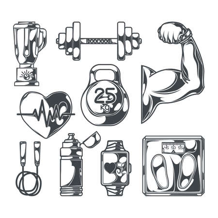 Set of healthy lifestyle elements for creating your own badges, logos, labels, posters etc. Isolated on white.