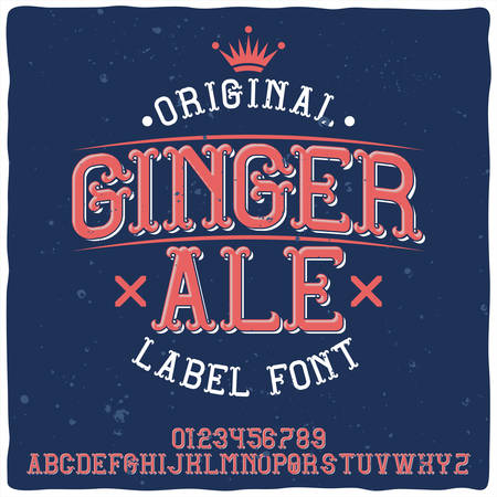 Vintage label typeface named Ginger Ale. Good handcrafted font for any label design. Stock Illustratie