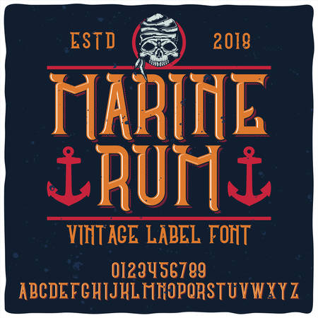 Vintage label typeface named Marine Rum. Good handcrafted font for any label design.