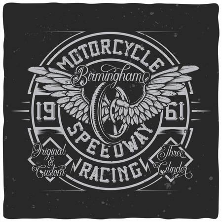 Vintage label design with lettering composition on dark background. T-shirt design. Иллюстрация