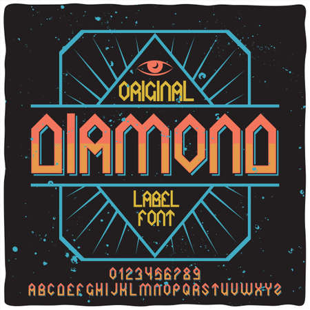 Vintage label typeface named Diamond. Good handcrafted font for any label design. Stock Illustratie