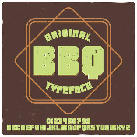 Vintage label typeface named BBQ. Good handcrafted font for any label design.