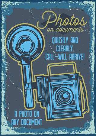 Poster design with illustration of a camera on vintage background. Иллюстрация
