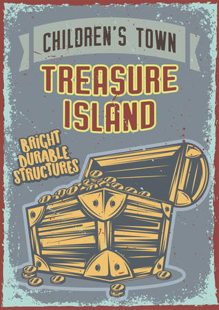 Poster design with illustration of a chest with gold on vintage background.