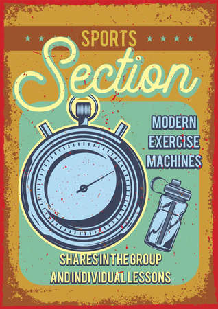 Poster design with illustration of pocket watch on vintage background. Vectores