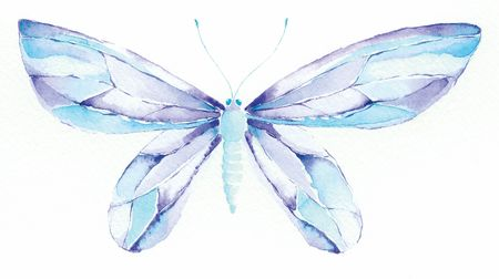 watercolor painting of a blue and purple fantasy butterfly