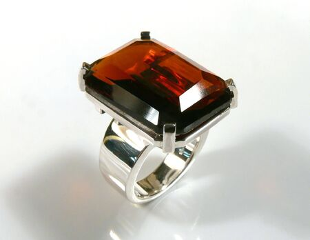 ring with red garnet Stock Photo